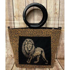 Bueno Embroidered Lion Woven Tweed Vtg 90's Bag